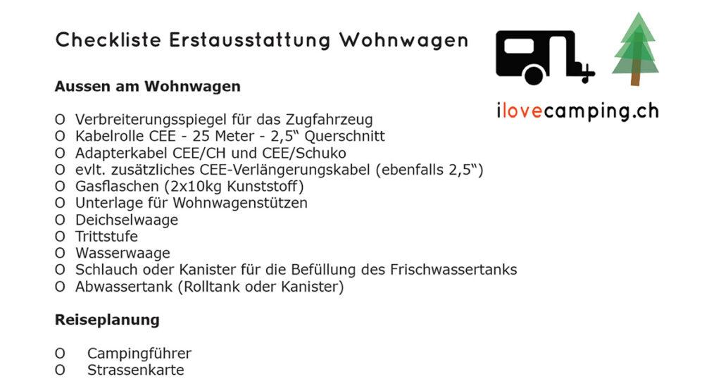 Camping Checkliste Erstausstattung Wohnwagen - I Love Camping