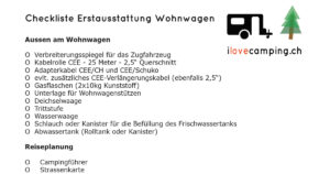 Checkliste Erstausstattung Wohnwagen