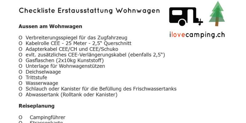 Checkliste Erstausstattung Wohnwagen VW Bus VW California Campingbus Van Reisemobil