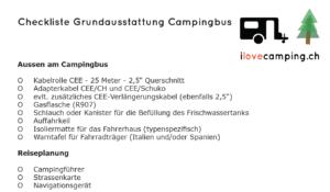 Checkliste Grundausstattung Campingbus VW California