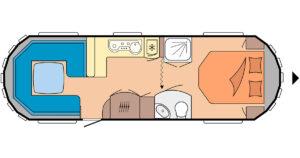 Grosser Wohnwagen - Hobby Landhaus 770 CFf Grundriss