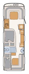 Wohnwagen für Familien Dethleffs Nomad 740 RFK Grundriss - I Love Camping