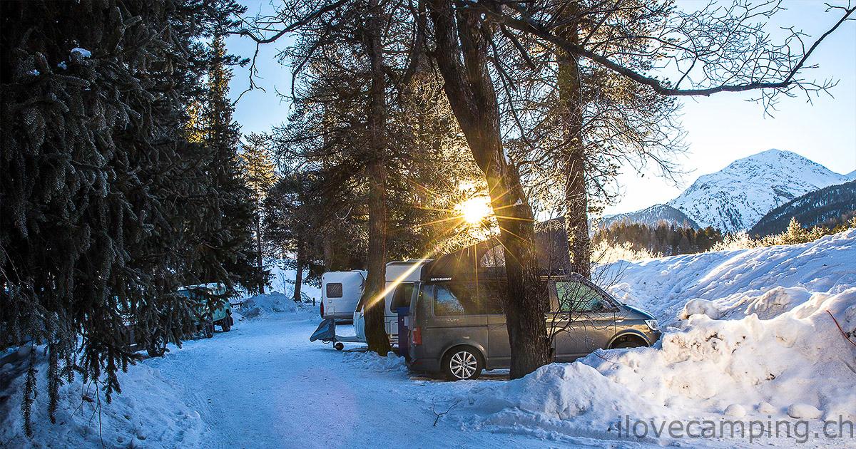 TCS Camping Samedan - Wintercamping mit dem VW California